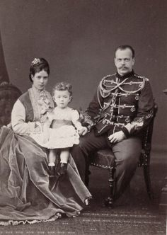 Tsarevich Alexander Alexandrovich of Russia, later Tsar Alexander III with spouse, Tsarevna Maria Feodorovna of Russia, neé Princess Dagmar of Denmark, and eldest son, Grand Duke Nicholas Alexandrovich of Russia, later Tsar Nicholas II..