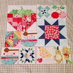 Group photo of my progress so far! I just love Farm Girl Vintage! Yee Haw! #farmgirlvintage #loriholt #beeinmybonnet @beelori1 Pondering making the picnic quilt with all different blocks and sizes! They look so happy together.