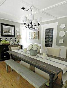 Adorable 70 Lasting Farmhouse Dining Room Table and Decorating Ideas https://homevialand.com/2017/06/23/70-lasting-farmhouse-dining-room-table-decorating-ideas/