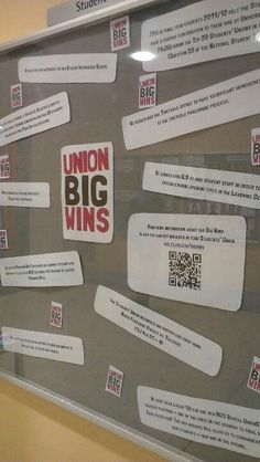 Union Big Wins display on campus