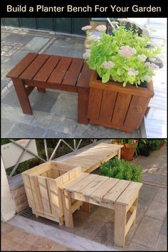 Planter benches are more than just seating areas; these are excellent solutions to introducing greenery. Pallet Garden Benches, Pallet Seating, Wooden Garden Planters, Diy Planters, Planter Bench, Diy Planter Box, Front Yard Decor, Front Porch, Outdoor Loveseat