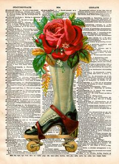 Vintage flower art print. This lovely 1800's image is quite beatiful and would be perfect for the skater, or lovely roller derby girl you know and love :) These unique and original artwork are printed