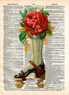 French advertising, roller derby art, vintage rollerskates art