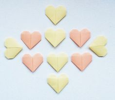 Origami Hearts Peaches and Cream Set of 10 by WideSkyPapercrafts, £6.00