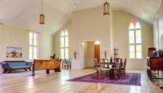 The former Dunbar Presbyterian Church has been renovated and is for sale as a home. It features an open-concept living area and pine plank floors.   Chris Mikula, The Ottawa Citizen
