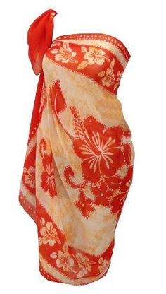 Amazon.com: La Leela Floral Printed Beach Pareo Swim Hawaiian Sarong Cover up Orange: Clothing