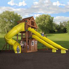 $4,930.00 Includes Delivery and Installation! Giant fort, playhouse, and sliding insanity! Large tower fort with wood roof Upper loft with balcony Lower playhouse with real door, snack window, white trimmed windows Side deck with two pedestal seats Play sink, stove and cordless phone inside playhouse Dual swing beams and four widely-spaced swings Four comfy belt swings Monkey bars 10' rocket slide 14' rocket slide Turbo slide Upper deck dimensio