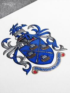 The Barker Coat of Arms letterhead design boasts a striking blue surrounding a knights helmet. Discover our design for this crafted letterhead here at Downey. Letterhead Design, Letterhead Logo, Knights Helmet, Types Of Printing, Coat Of Arms, Business Card Design, Bespoke, Stationery, Prints