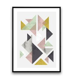 Geometric print Triangles abstract miminalist wall door Wallzilla