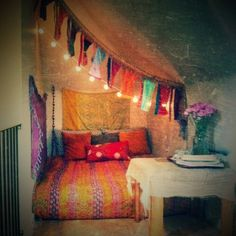 Boho bed on floor