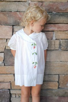 From the 1930's . Love the collar, the stripes and the cherries. vintage baby dress