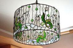 Araña de vidrio vidrieras colgante lámpara por VGfantasy en Etsy