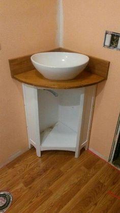 Handmade vanity top and basin/vessel Corner Vanity Unit, Vanity Units, Peach Bathroom, Cuba, Basin, Bathroom Ideas, Handmade, Home Decor, Wood