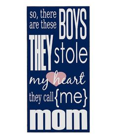 Take a look at this Navy & White Boys Stole My Heart Wall Art by Vinyl Crafts on #zulily today!