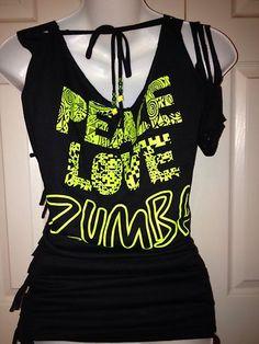 Zumba Peace Love Zumba T Shirt Customized Black Fancy Sleeve OSFA   eBay