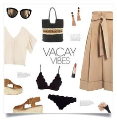 """""""Vacay Vibes!"""" by diane1234 ❤ liked on Polyvore featuring Alexander McQueen, Moon River, Lizzie Fortunato, CÉLINE, Estée Lauder, Chanel, Marysia Swim, BeachPlease and vacayoutfit"""