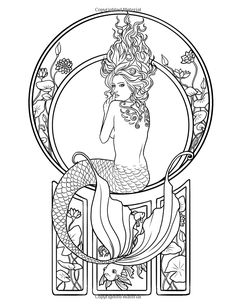 Mermaid Myth Mythical Mystical Legend Mermaids Siren Fantasy Mermaids Ocean Sea Enchantment Sirens Meerjungfrau sirène sirena Русалка pannu havfrue zeemeermin merenneito syrenka sereia sjöjungfrun sellő Coloring pages printable colouring adult detailed advanced printable Kleuren voor volwassenen coloriage pour adulte anti-stress kleurplaat voor volwassenen Line Art Black and White