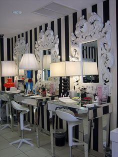 Awesome Purple Salon Decor. Love The Black/white Wall... I Would Love A Red Accent  Wall