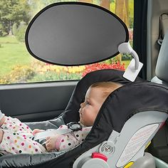 Clip-On, Portable Sun Shade  So you don't have to apply tacky sun shades on your car windows...