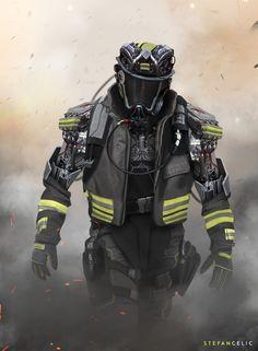 Mech Firefighter by Stefan Celic on ArtStation