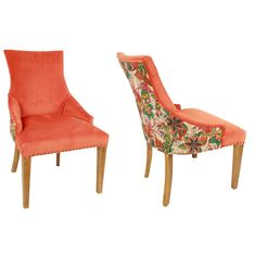 Coral Floral Plush Chair, Chairs, Ottomans, Katzberry, Home, decor, furniture, coral, design, modern, living, contemporary, style.