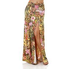 Saia longa Feminina Floral. Compre Online: http://www.lojaspompeia.com/saia-longa-feminina-floral-amarelo/p
