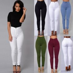 Fashion Ladies Women High Waisted Stretchy Skinny Denim Jeans Pants Trouser