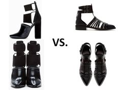 Alexander Wang Mackenzie Boots ($438.00) vs. Zara Closed Toe Strappy Shoes ($79.99)   http://csmstyle.com/2013/05/splurge-vs-save-cut-out-shoes/