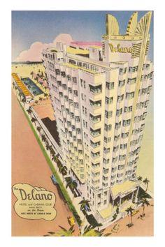 """The Delano Hotel and Cabana Club, Miami Beach, on the ocean just north of Lincoln Road"" postcard, circa Miami Beach, South Beach, Old Florida, Vintage Florida, Florida Travel, Florida Keys, South Florida, Delano Hotel, Delano Miami"