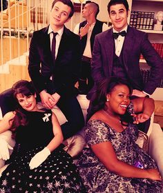 Chris Colfer, Darren Criss, Lea Michele, and Amber Riley