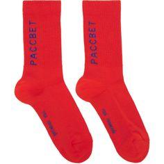 Gosha Rubchinskiy Red Jacquard Socks (1.725 RUB) ❤ liked on Polyvore featuring intimates, hosiery, socks, b red, padded socks, cushioned socks, logo socks, red socks and graphic socks