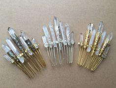 Raw Crystal Magic Quartz Comb - Natural Rock Crystal Shards on a 5cm Hair Comb - Healing Powerful Beautiful Hair Accessory.