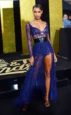 Jasmine Tookes from MTV Movie & TV Awards 2017: Red Carpet Arrivals  The catwalk queen is absolute perfection in her purple lace gown.