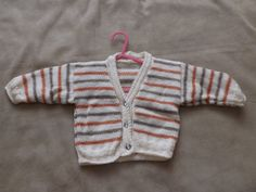 Striped Baby Cardigan by Vickyannstitches on Etsy, £9.00