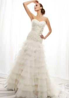 Court Train Tiers Lace Empire Waist  Sweetheart Wedding Dress