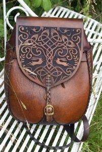 large versatile Iona rucksack / shoulder bag with hand carved Tree Of Life design Sky Raven Wolf