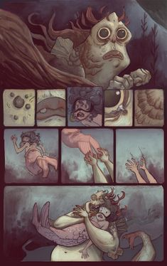 Here is a little 10 page comic that took much too long. It's kind of based off of my 6 year old self and my life goal (at the time) to live . Comics Story, Fun Comics, Manga Comics, Character Illustration, Illustration Art, Dragon Rey, Underwater Art, Furry Comic, Mini Comic