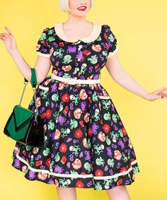 Loving this Black & Purple Sea Creatures Dee Dee Fit & Flare Dress - Plus Too on #zulily! #zulilyfinds