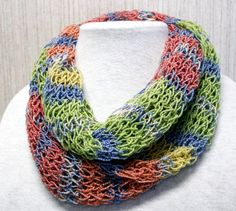 Lacy Infinity Scarf Hand Knitted.  A Rainbow of colors from reds to blue to greens to yellows