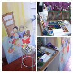 Projeto de ilustração infantil Tema: Sala de leitura Painel Aquarela