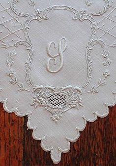 Ems Heart Antique Linens -Vintage Embroidered Appenzell Linen Monogram Napkins