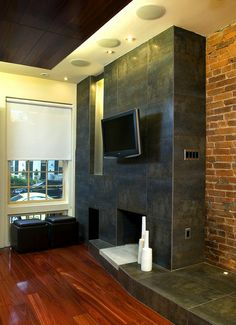 contemporary by KUBE architecture Maple Floors, Media Wall, Wood Detail, Wood Ceilings, Cladding, Small Spaces, Living Spaces, Interior Decorating, Indoor