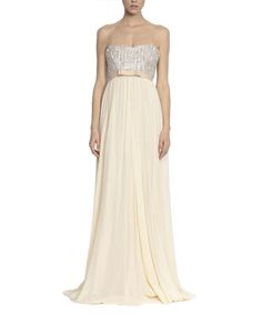 Beige+&+silver-tone+pure+silk+maxi+dress+by+NISSA+on+secretsales.com