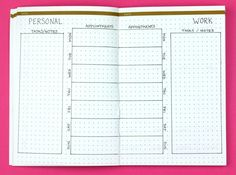 Split Personality; Weekly Bullet Journal Layouts | pageflutter.com