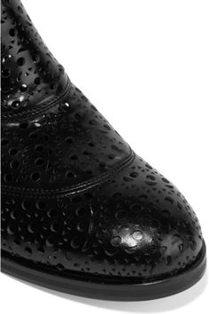 18d59a9db75d Heel measures approximately 20mm  1 inch Black glossed-leather Pull on Made  in Italy