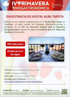 Disfruta de esta estancia enogastronómica en el Hostal Alba Taruta durante la #IVPrimaveraEnogastronómica #enoturismo #Cáceres #Extremadura