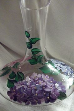 Hydrangeas Hand Painted on a Wine Carafe by SusanRuthCreations