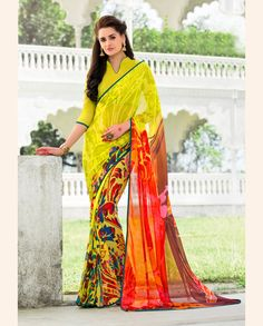 Orange Georgette Printed Saree With Blouse 68434