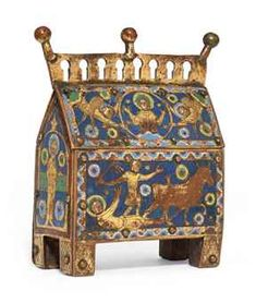 A gilt-copper and polychrome enamel rectangular reliquary chasse. The front depicting the martyrdom of St. Saturninus,  the ends each with a standing saint and reverse with hinged door and a repeating quatrilobe pattern. As described in a Christies' auction catalog. It sold for well over a quarter million dollars. x