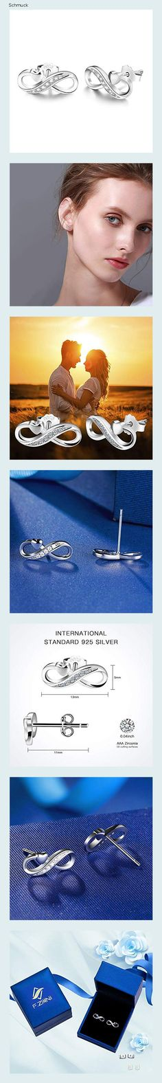 Unendlichkeit Ohrringe 925 Sterling Silber Ohrstecker Für immer Liebe Akzent Modeschmuck für Frauen Mädchen mit Geschenkbox (Mit Liebe) - 14h7